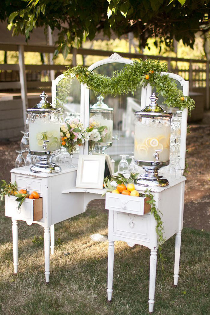 12 pretty and practical ways to use a vintage dresser in for Wedding reception photo ideas