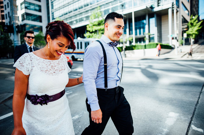 Bride and groom portrait in Seattle