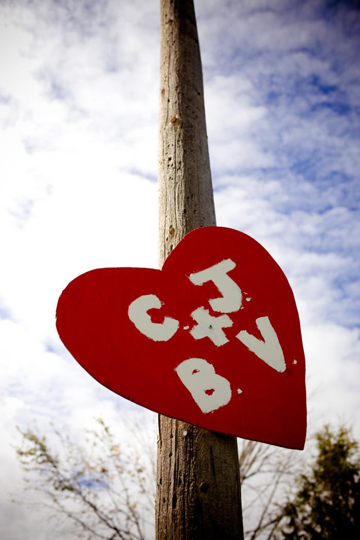 heart shaped wedding sign