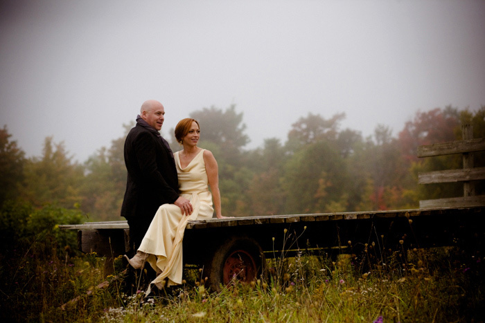 bride and groom portrait on the farm