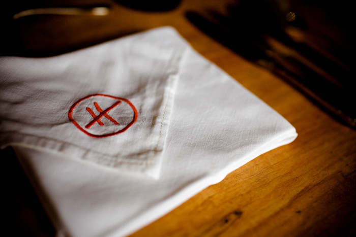embroidered napkin