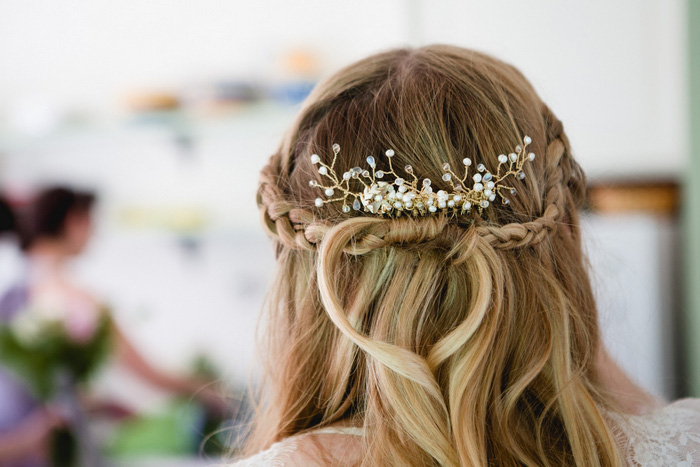 close-up of bride's hair
