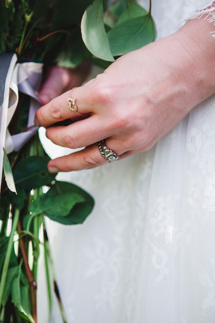 close-up of bride's rings