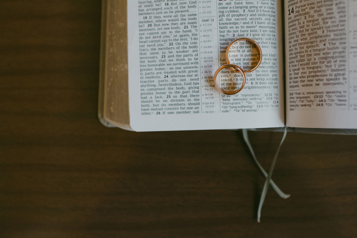 wedding rings on book page
