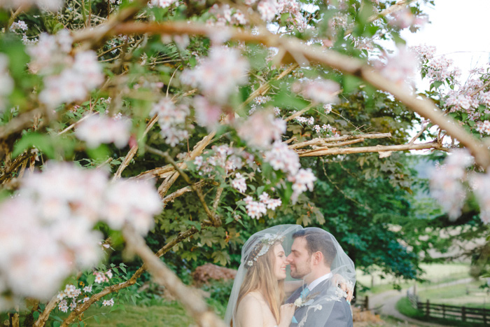 bride and groom portrait under veil