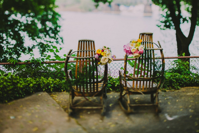 adirondack chairs decorated with flowers