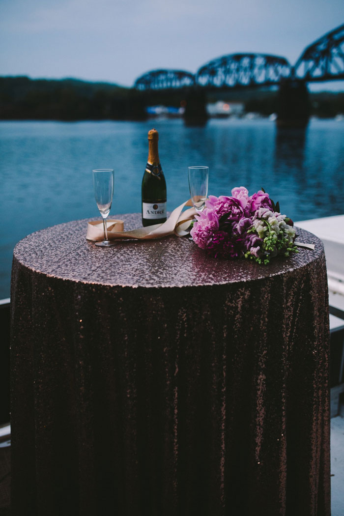 champagne table with sequin tablecloth