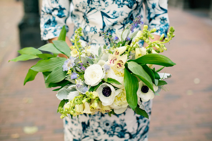 white, yellow and green wedding bouquet