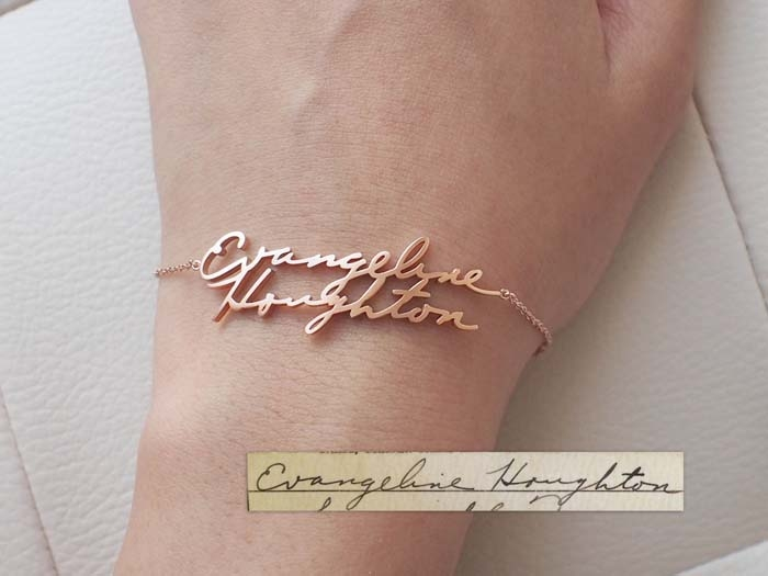 Another Handwritten Jewelry Option That Adds A Special Personal Aspect To Your Bridesmaids Gifts Is This Handwriting Cuff From Gracepersonalized