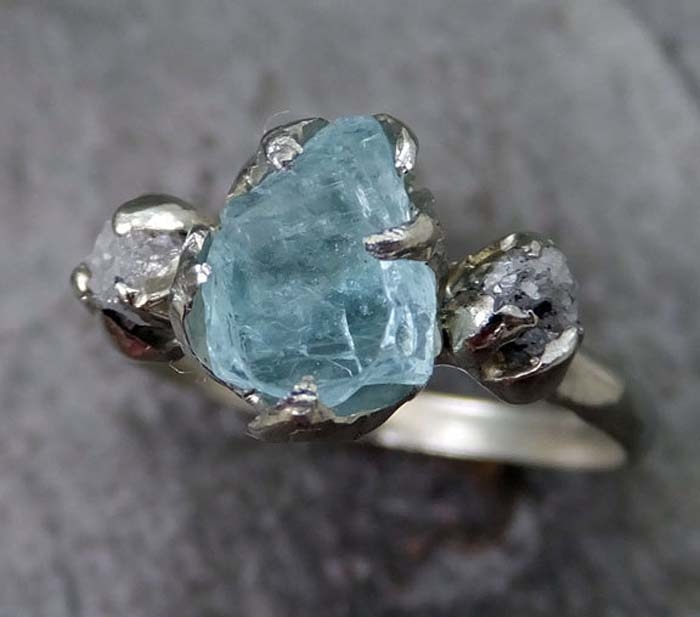 Aquamarine-Rough-Diamond-Ring