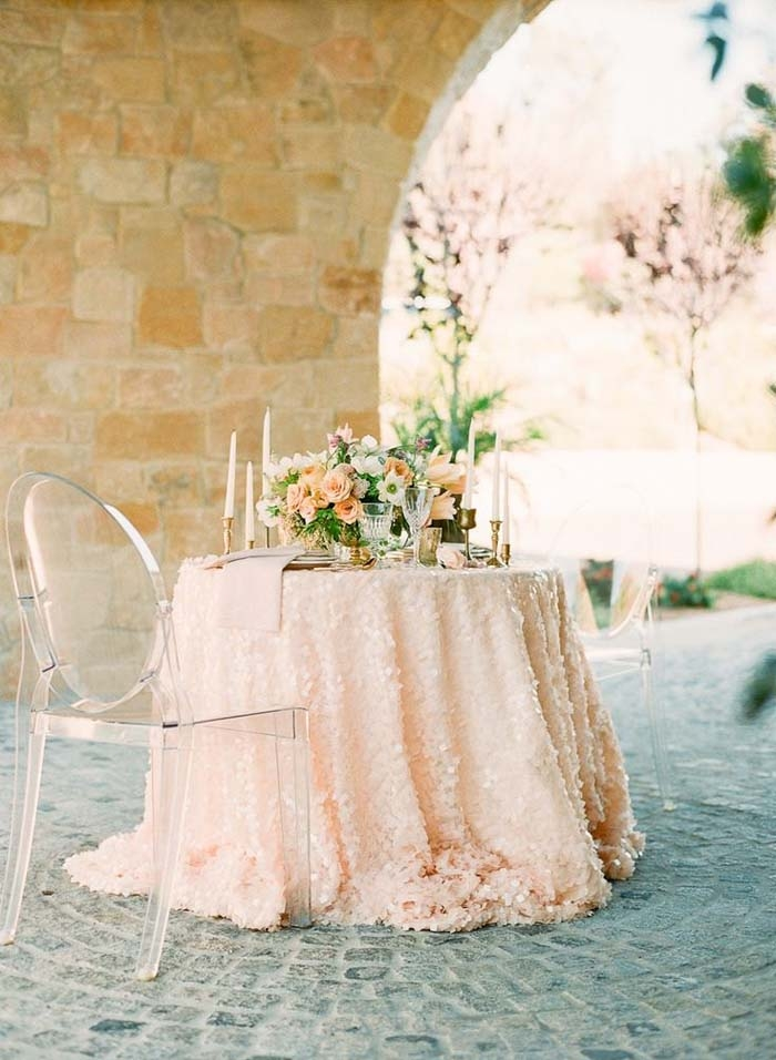 Peach-Sequin-Tablecloth