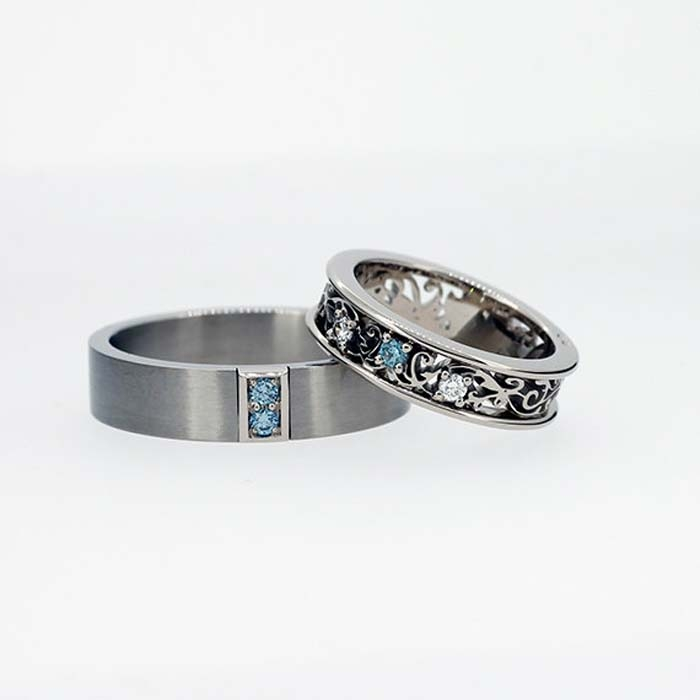 Aquamarine Wedding Band Set