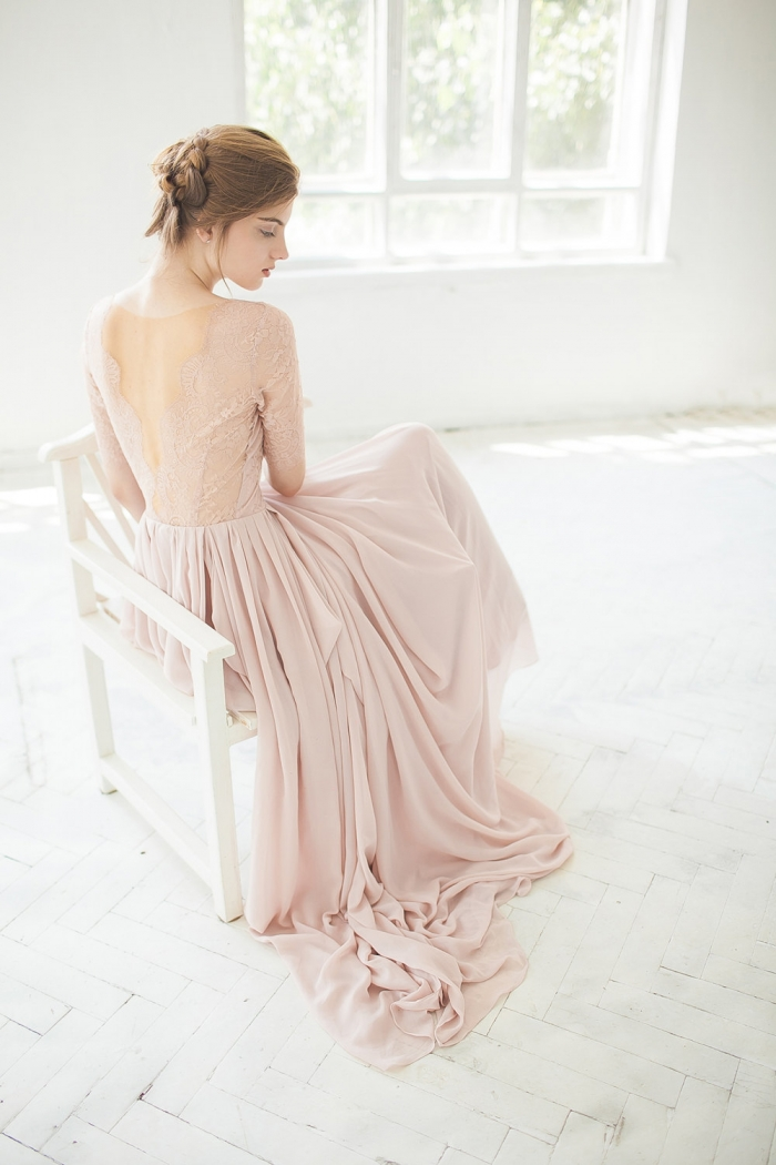 Flowy Pink Wedding Dress
