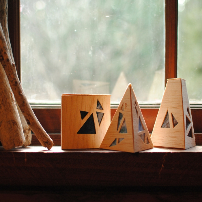 Geometric Wooden Luminaries