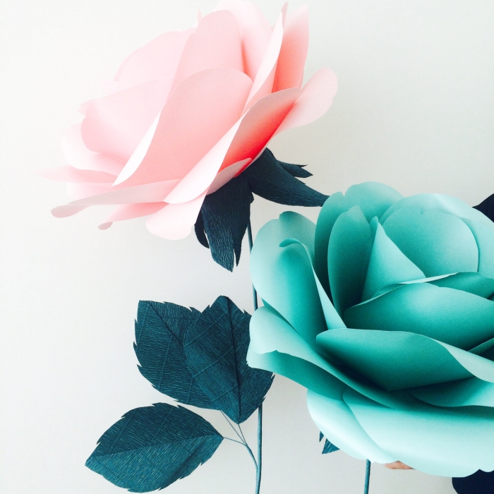 Mint and Rose Paper Flowers