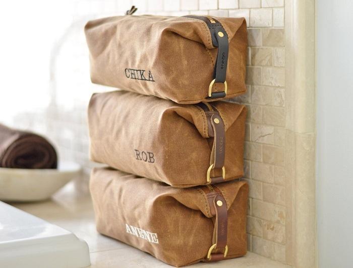 Leather Bag Men Toiletry Bag Wedding Gift Suede Toiletry Bag Groomsmen Bag