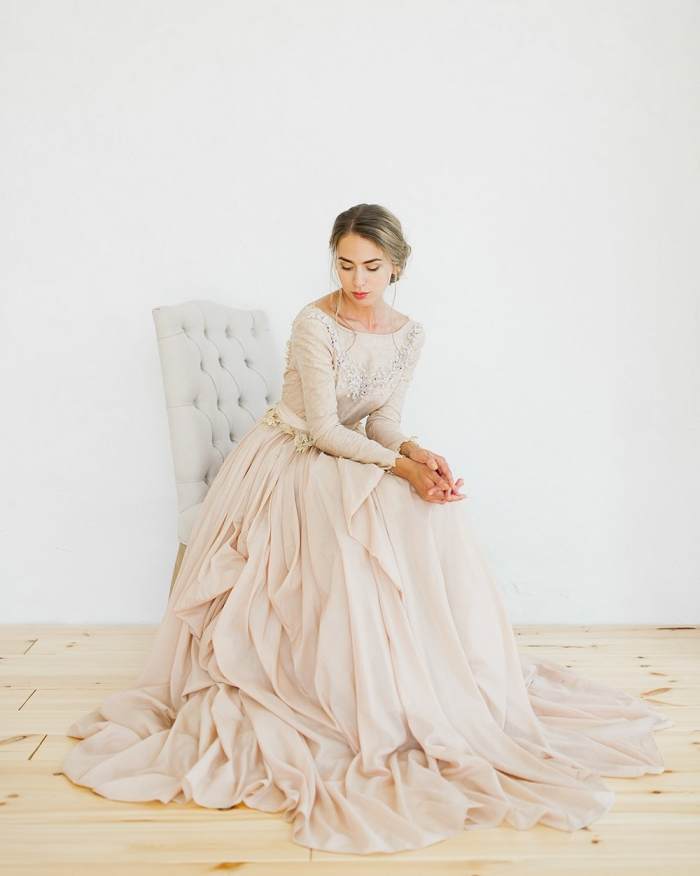 Pink Silk Batiste Wedding Dress