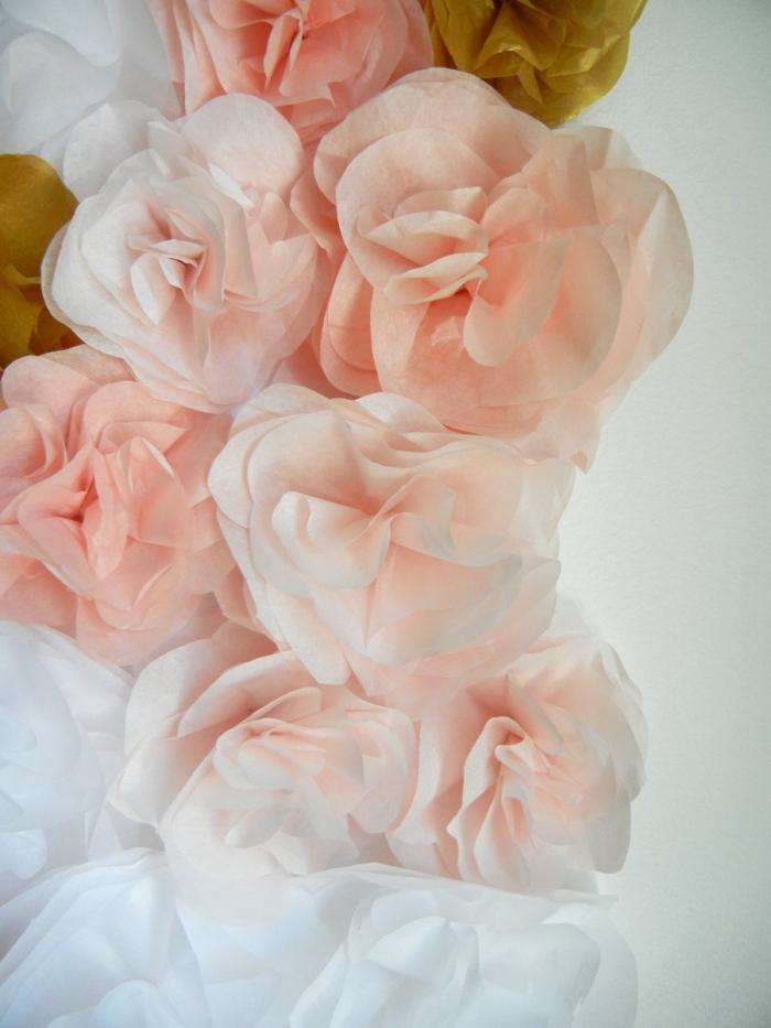 Pink White Gold Tissue Flower Wall