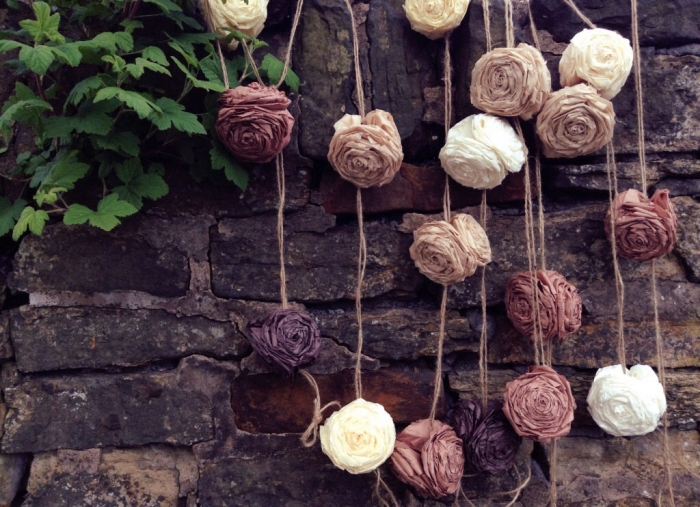 Rustic Tissue Flower Garland