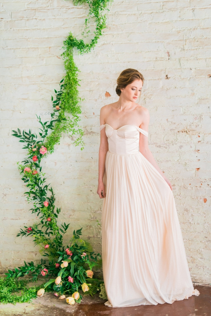 10 gorgeous blush wedding gowns intimate weddings for Simple wedding dresses for small wedding