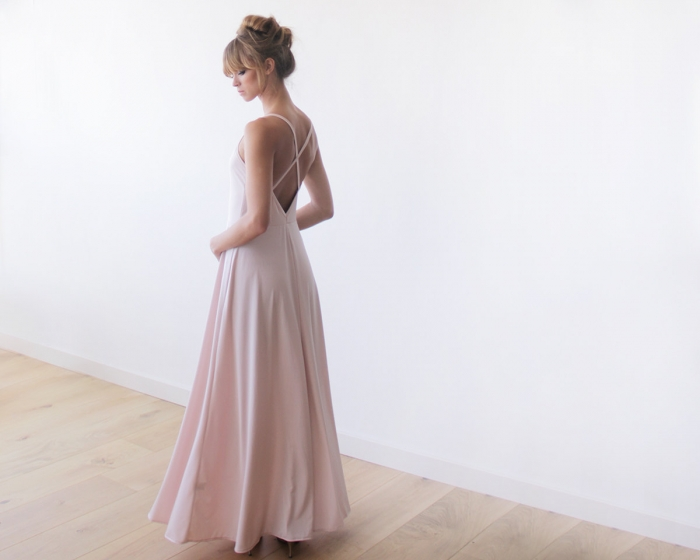 Simple Pink Wedding Dress