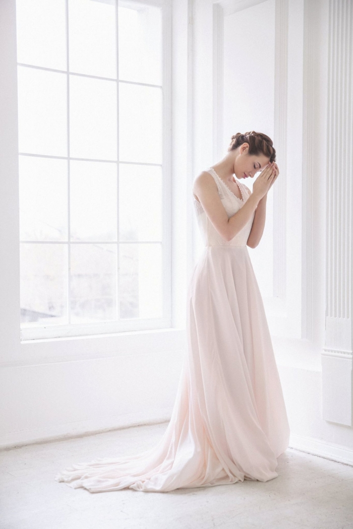Vintage Inspired Pink Wedding Dress