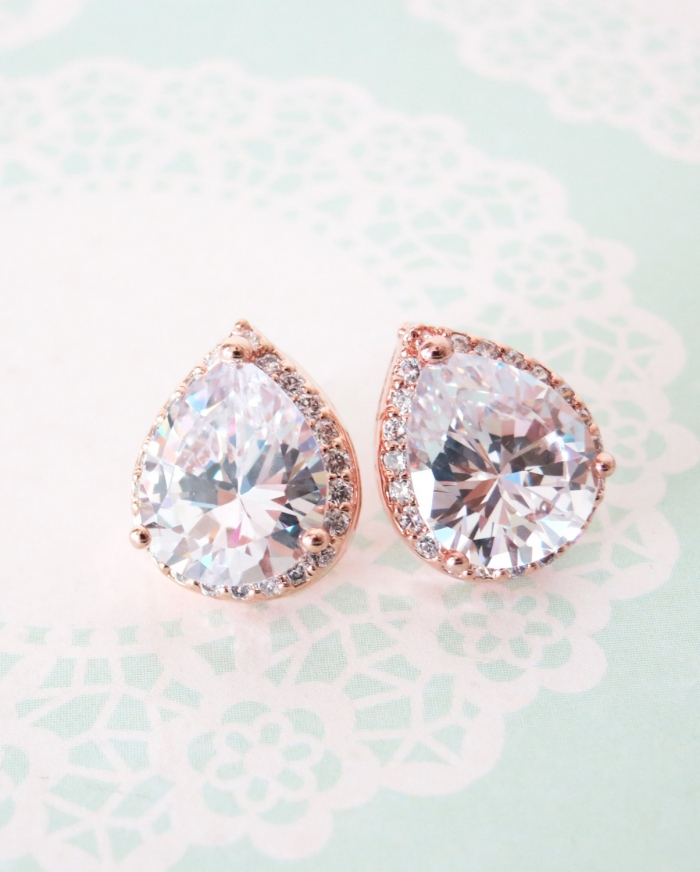 Rose Gold Tear Drop Studs
