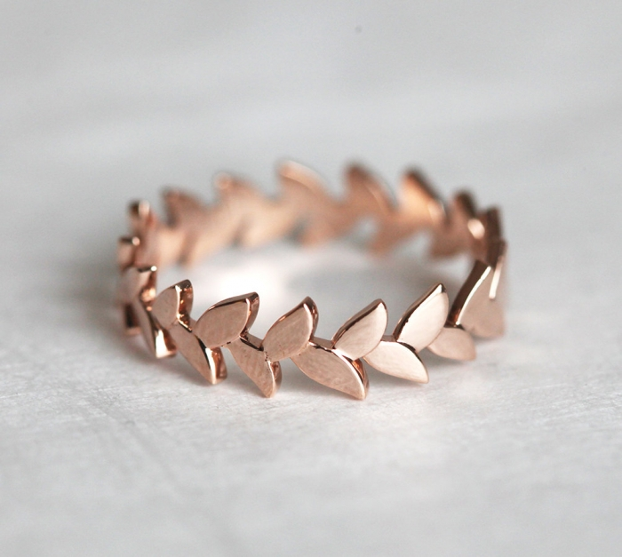 Leaf Rose Gold Wedding Band