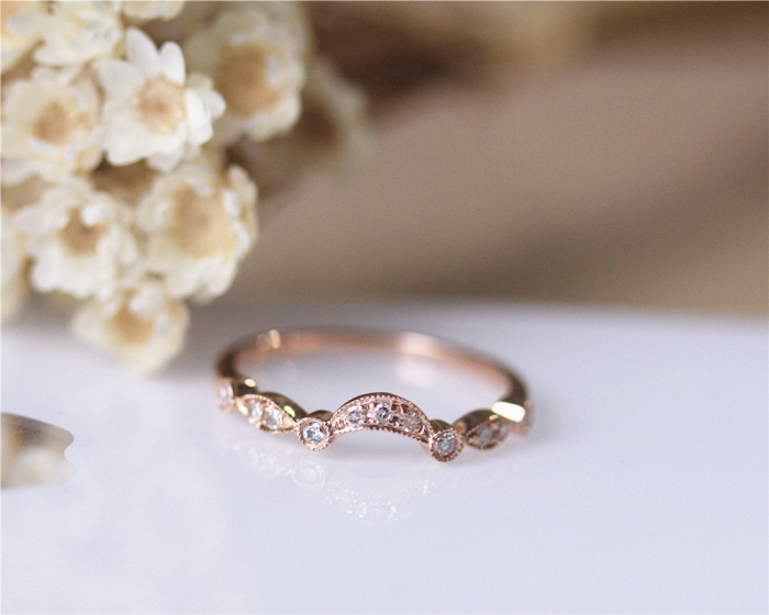 rose gold curved wedding band - Rose Gold Wedding Ring