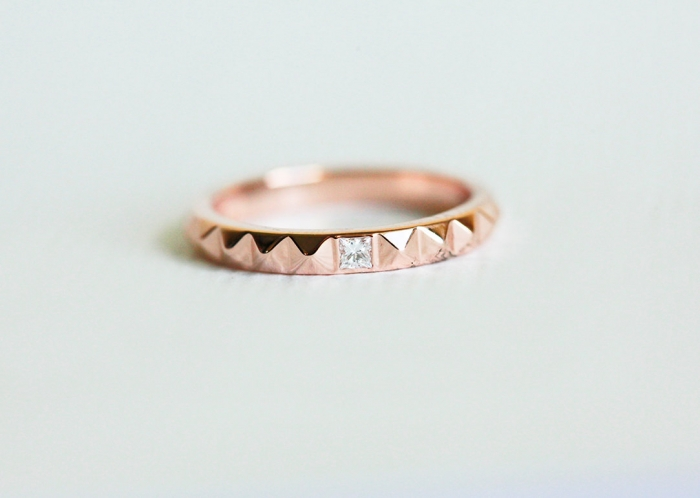 Rose Gold Princess Cut Wedding Band