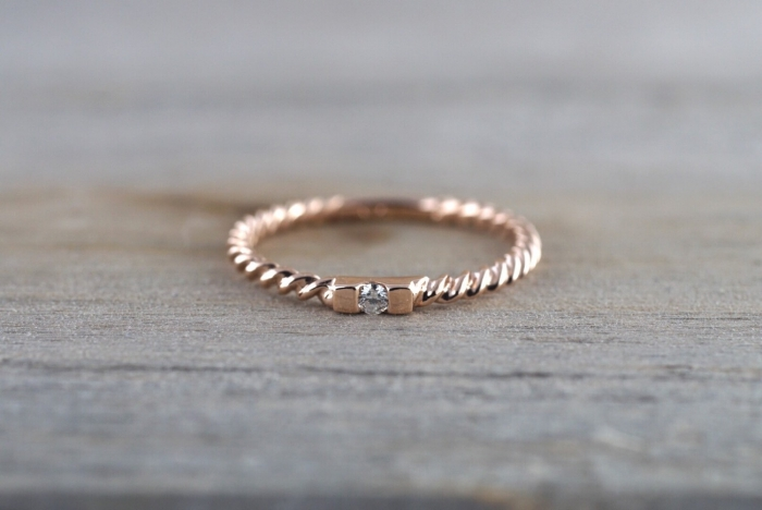 Rose Gold Rope Wedding Band