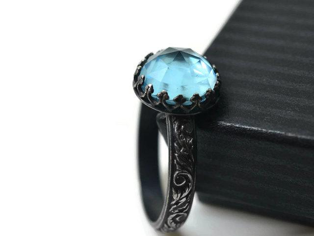 Sky Blue Topaz Engagement Ring