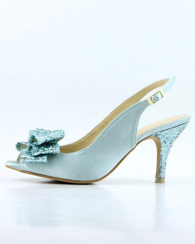 blue glitter shoe