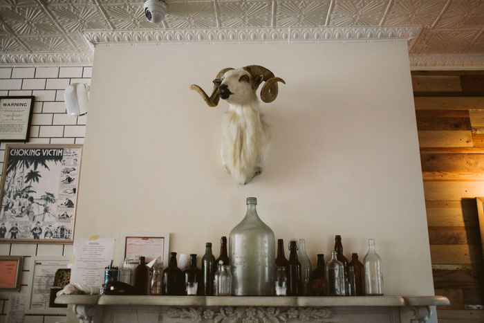 ram head mounted above resturant bar