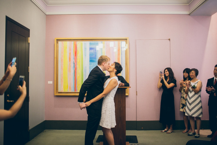 courthouse wedding ceremony first kiss