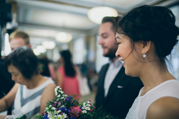 bride and groom at courthouse