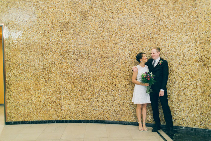 bride and groom portrait at the courthouse