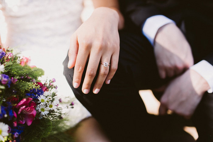 shot of ring on bride's finger
