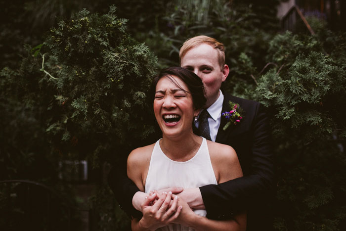 bride laughing during portrait session