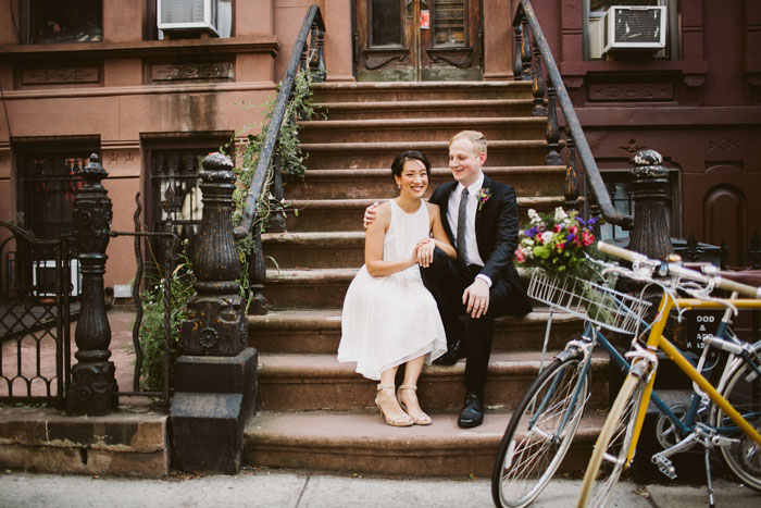 bride and groom portrait on Brooklyn brownstone steps