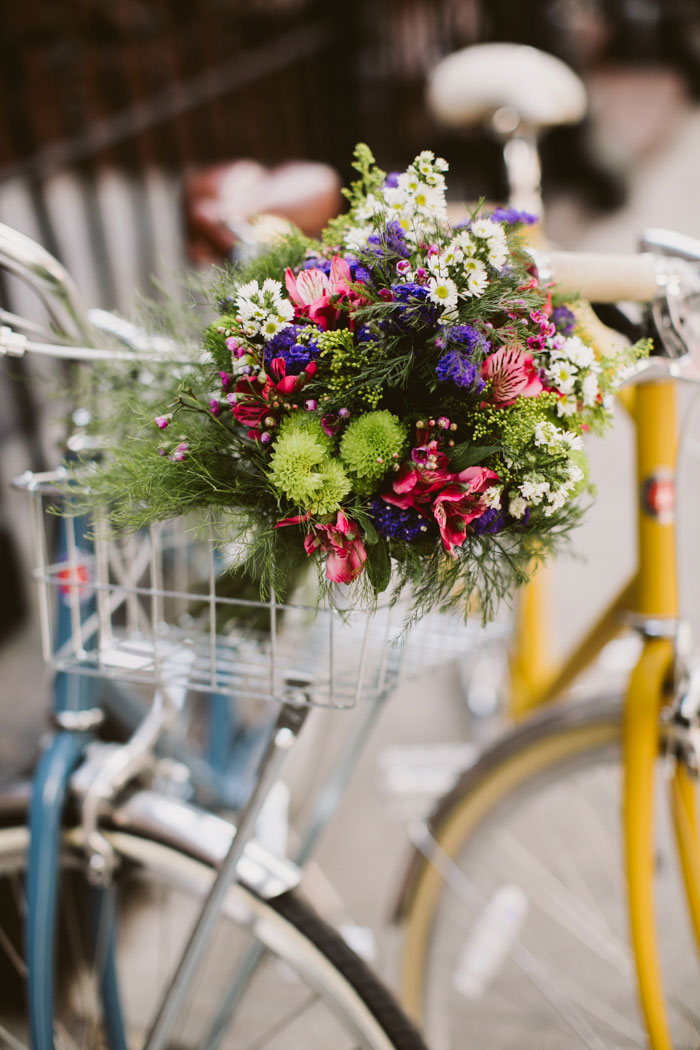 wedding bouquet in bike basket