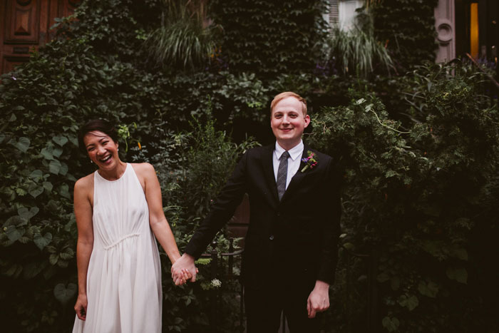 bride laughing during wedding portrait session