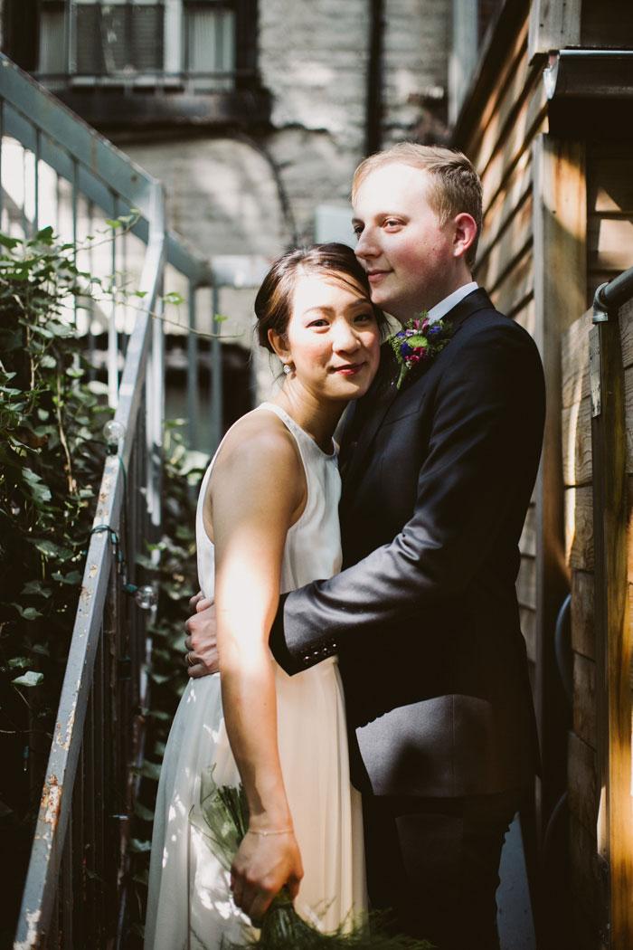 sunlit bride and groom protrait
