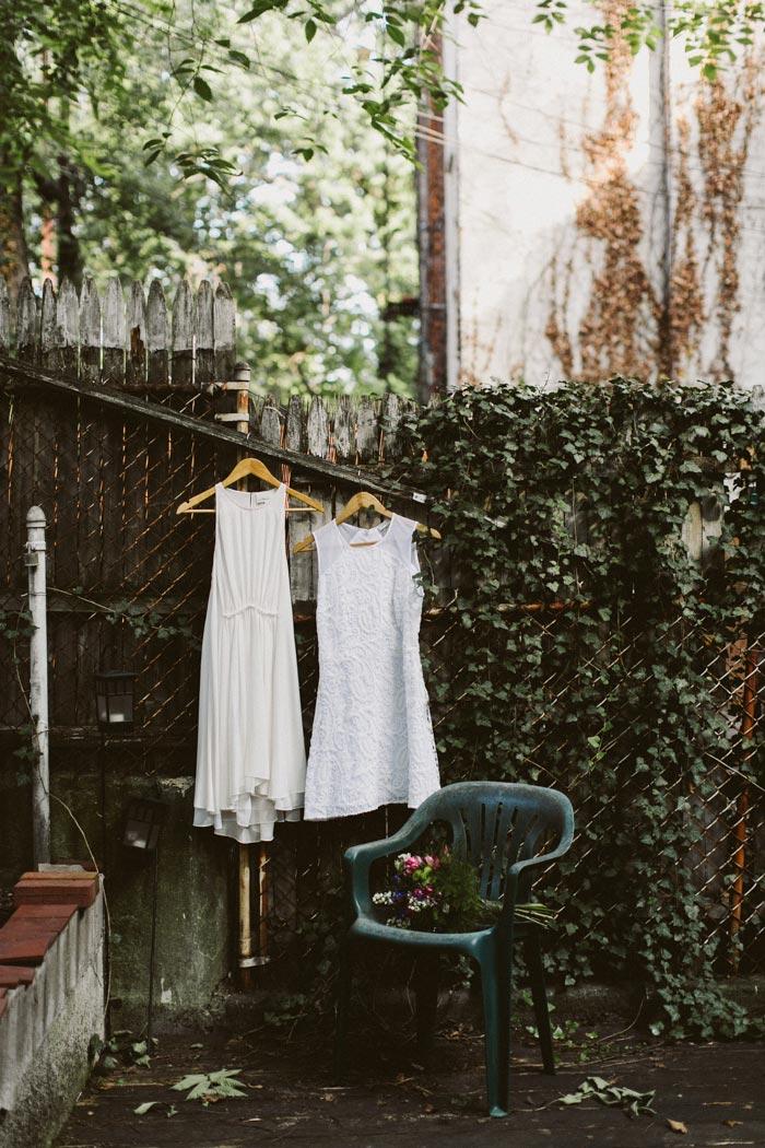 wedding dresses hanging up outside