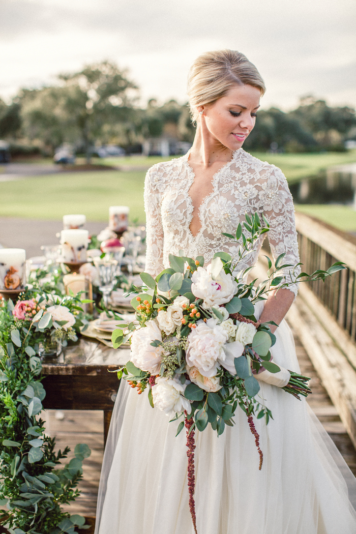 Golden hour in charleston styled shoot intimate weddings for Simple wedding dresses for small wedding