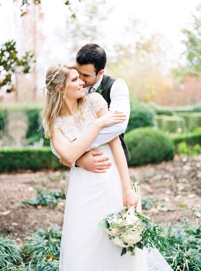 bride and groom portrait in garden