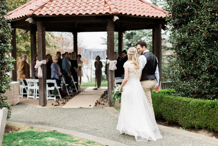 Bride And Groom Walking To Ceremony Gazebo Outdoor Wedding