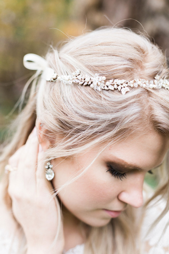 close-up of bride's headband