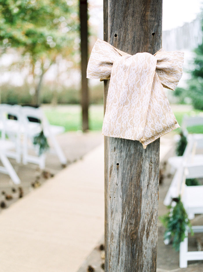 burlap bow on post