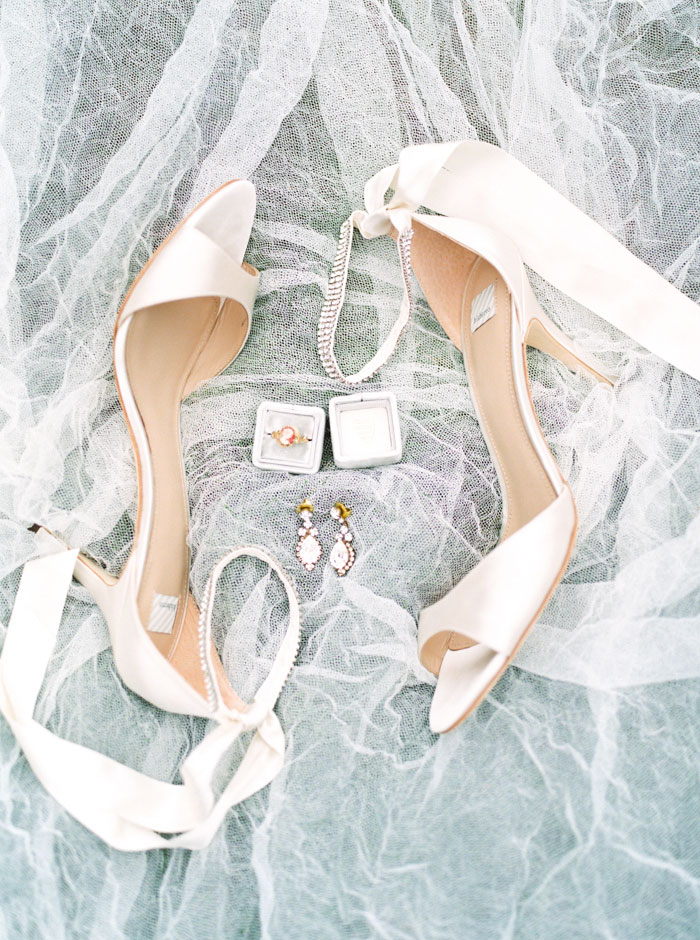 bride's shoes and accessories